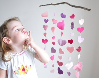 Pink Mobile in Hearts, Hanging Hearts, ready to ship