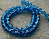 6mm Blue Czech Glass Beads, Fire Polished Beads, Glass Round Beads, Clear Bermuda Blue  (100pcs) NEW