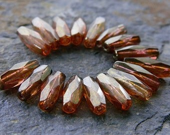 Czech Glass Beads Fre Polished Faceted Spaghetti 15x6mm Clear Crystal with Pink Picasso & Light Bronze Luster Finishes (18pcs)