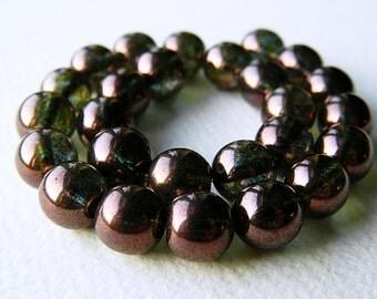 10mm Czech Glass Druk Beads, Glass Round Beads, Transparent Glass & Bronze Green/Purple Luster(12pcs) NEW