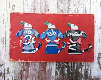License plate artwork - Rustic Jingle Xmas Dogs Trio on Red - Santa Hat Christmas Recycled License Plate Art - Salvaged Wood - Upcycled