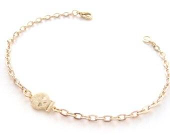 Tiny Skull Bracelet In Gold Plate, Skull Charm Bracelet, Delicate Skull Bracelet, Small Skull Chain Bracelet