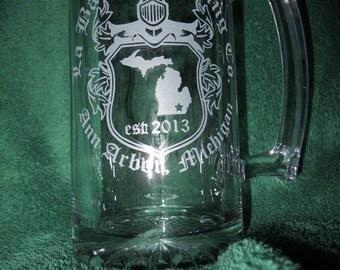 Beer Mug Custom Etched Sports Mug Sandblasted Glass Beer Mug Your Logo Beer Stein Etched Beer Stein