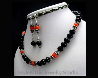 Faceted Black Crystal Necklace, Dangle Earrings, Opaque, Orange, Oxidized, Bali, 925 Sterling Silver, Two Piece Set, Toggle, Jewelry