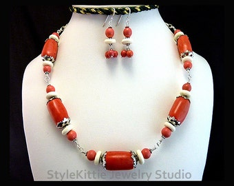 Orange Bamboo Coral, Orange Turquoise, Necklace, Dangle Earring, White Bone, Sterling Silver, Wire Wrapped, Adjustable, 2 Piece Set, Jewelry