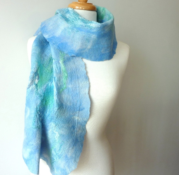 large blue wool scarf - Silk and Wool - Wrap - 50% off