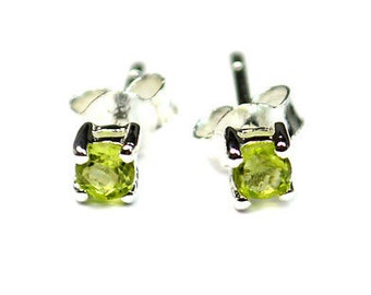 Tiny Peridot Stud Earrings in Solid Sterling Silver