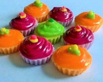 Miniature Polymer Clay Cupcake Supplies for Dollhouse, set of 9 pieces