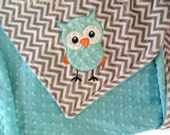 Curious Owl Minky Baby Blanket Personalized Blanket Choose your Colors and Print, Owl Chevron Blanket, Minky Applique Blanket, Minky Blanket