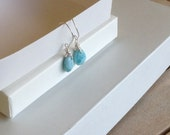 Bridesmaids jewelry Simple and minimalist Larimar earrings Blue jewelry gifts for her