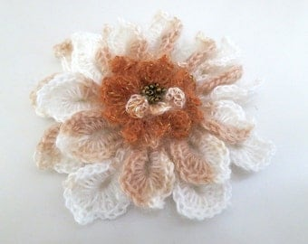 FREE US SHIPPING - Light Cream Off White Coral Color Crocheted Flower Fashion Brooch Hat Hair Scarf Wrap Pin