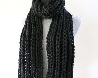 Long Chunky Scarf Black Color Acrylic Wool Yarn Men Women Unisex
