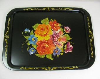 """Vintage Floral Tole Paint Metal Tray Black w/ Gold Trim 17.5"""" by 13"""" Very Good Vintage Condition"""