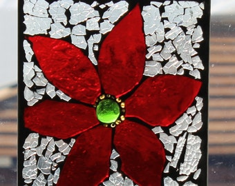 RED Flower  Mosaic  with gold  ,Stained Glass SunCatcher or wall Decoration