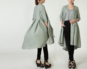 Spring Jacket Long Sleeve in Grey Green(more colour and size choice)-NS33