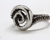 Silver octopus tentacle spiral twirl ring  .925 sterling made in NYC Blue Bayer Design