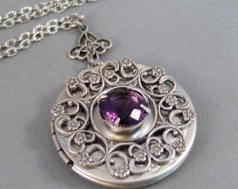 Amethyst Lace,Locket,Necklace,Amethyst,Purple,Antique Locket,Silver Locket,Birthstone,Amethyst Birthstone,Purple Stone. Valleygirldesigns.