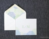 Hydreagea thank you note - personalized with matching envelope liner