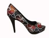 Black Hibiscus Leather Peep toe Heel