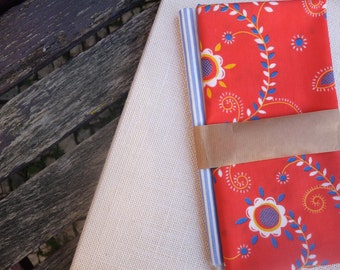 """Fat quarters """"Viana red & blue"""": red fabric inspired by regional Embroidery of Viana do Castelo and striped blue, fabrics made in Portugal"""