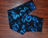 Blue Dragons print leggings with WIDE waistband size small