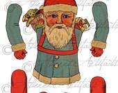 Printable Vintage Santa Paper Puppet Digital Christmas Paper Doll Printable Articulated Jumping Jack Santa Printable Collage Sheet Download