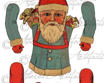 Printable Vintage Santa Paper Puppet Digital Christmas Paper Doll Printable Articulated Jumping Jack Santa Printable Collage Sheet Download