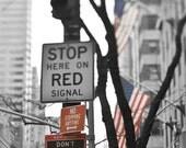 Street Sign, New York Photography, Black, White, Red, NYC Street Sign, Travel, New York City Print