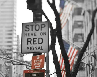 Street Sign, New York Photography, Black, White, Red, NYC Street Sign, Travel, New York City Print