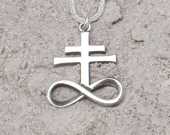 Sterling Silver Brimstone, Leviathan Cross Pendant (Polished/Small)