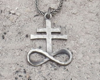 Sterling Silver Brimstone, Leviathan Cross Pendant (Hammered/Small)