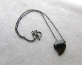 Black Agate Heart Choker -Basic Black No. 1- Sloping Black Heart on Blackened Brass, 18 inch Choker