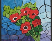 Stained Glass Holy Land Poppies Quilted Fiber Art Wall Hanging