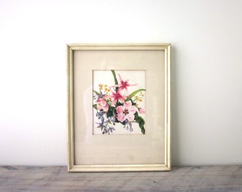 Vintage Floral Print in White Wood Frame