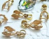 Brass leaf pinch bails, lot of (6) - AM84