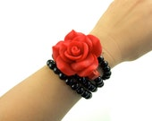 Red Flower Pinup Wire Wrapped Braclet