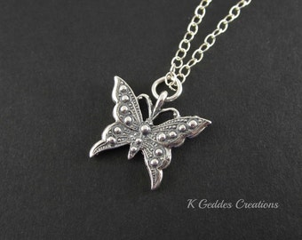 SALE Sterling Silver Butterfly Necklace, Butterfly Pendant, Chain Necklace, Ornate Butterfly, Bali Sterling Silver