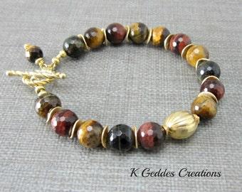 Blue Tigers Eye Bracelet, Gold Tigers Eye Bracelet, Vermeil, Red Yellow Brown Tigers Eye Beaded Bracelet