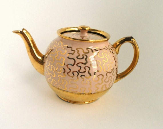 Vintage Sadler Teapot Pink with Gold Swirls Brown Interior, Vintage Tea Pot