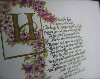 Calligraphy/How Do I Love Thee by Elizabeth Browning/Custom Calligraphy/Print of original/Calligraphy Custom/Victorian/Pansies/valentines
