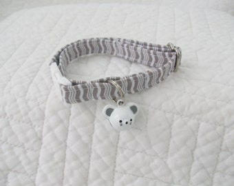 Grey   Cat Collar with bell  Cat  Breakaway Collar Custom Made