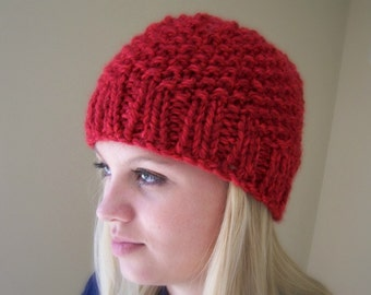Red Knit Chunky Hat, Chunky Knit Beanie Hat, Red Big Knit Hat, Winter Trends, Big Knit Red Toque, Knit Cap in Red, Men Women Knit Hat