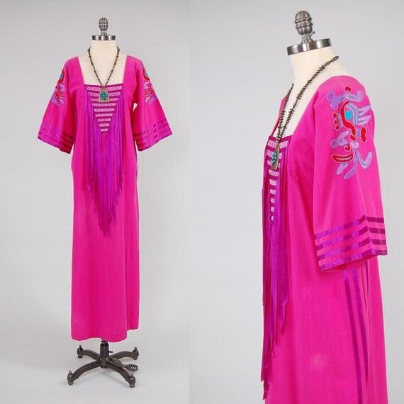 Vintage s mexican embroidered caftan dress ribbon fringe