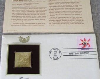 First Day Issue , Stamp , Flower , Lily , Gold Stamp , Commemorative Stamp , Postage Stamp , Collectibles , Flowers , Floral Stamp , Stamps