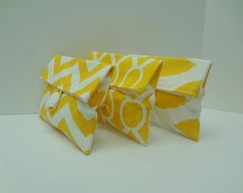 READY TO SHIP Corn Yellow Bridesmaid Clutches Set of 3 Bridesmaid Gift Set
