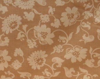 Tan Floral 100% Cotton Quilt Fabric for Sale, Blank Textiles Cabaret BTR6529, Material by the Yard, Yardage, Fabric on Sale