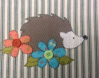 Hedgie the Hedgehog Applique PDF Pattern for Tea Towel