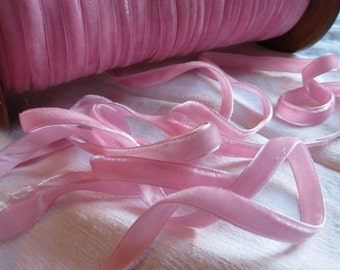 Vintage Swiss Hand Dyed Nylon Rayon VELVET RIBBON 1cm wide By the Yard Pink