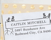 Self Inking Custom Rubber Stamp - Personalized  Address Stamp - Fern