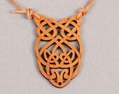 Celtic Owl Pendant - Celtic Owl Necklace - Wood Pendant - Wood Necklace - Owl Pendant - Owl Necklace